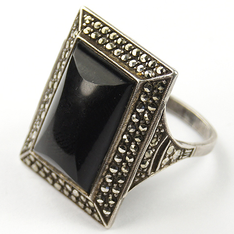 French Deco Sterling Marcasites and Onyx Finger Ring