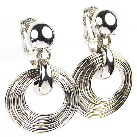 Napier Concentric Silver Hoops Pendant Clip Earrings