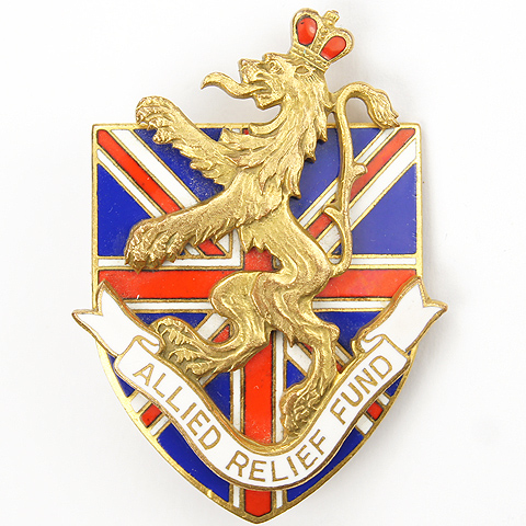 Cartier WW2 US Patriotic Allied Relief Fund Union Jack and Lion Pin