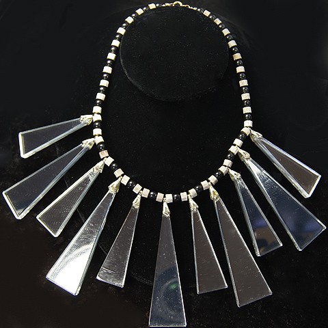 Cadoro Onyx and Multiple Pendant Triangular Mirrors Necklace