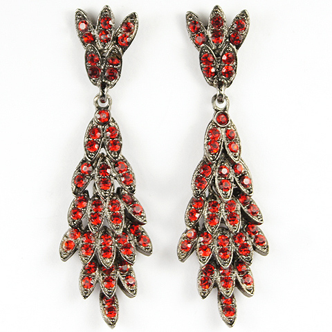 Thelma Deutsch Articulated Ruby Leaves Pendant Pierced Earrings