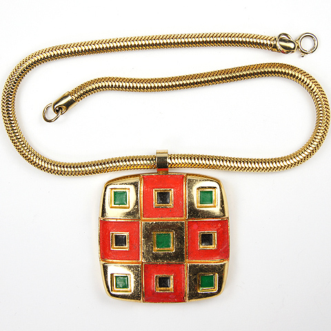Lanvin Paris Gold Red Black and Green Checkerboard Pendant Necklace