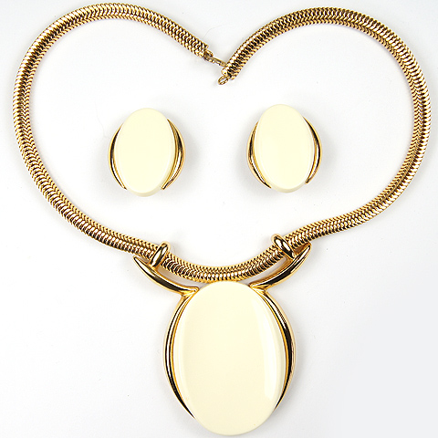 Grosse (Henkel and Grosse) Gold and Curved Faux Ivory Ovals Pendant Necklace and Clip Earrings Set