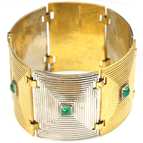 Made in France Gold and Silver Rectangular Shields with Emeralds Deco Link Bracelet