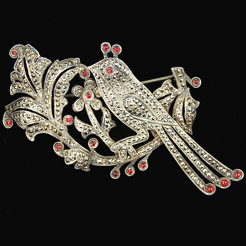'David's 5th Avenue' Sterling Ruby and Marcasite Bird and Flower Pin