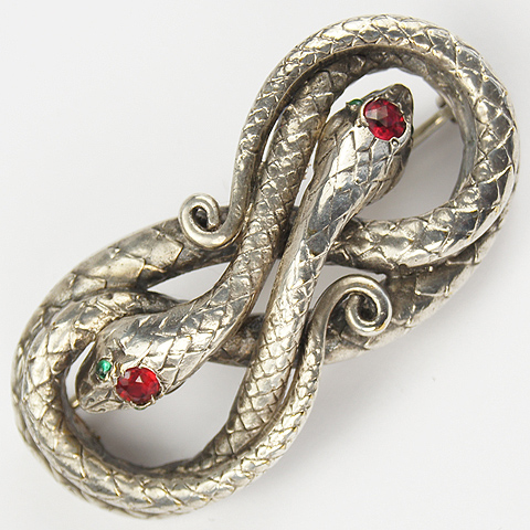 Fishel Nessler Deco Double Coiled Snakes Pin