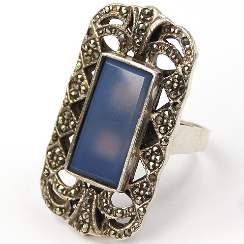 Sterling Marcasites and Blue Chalcedony Finger Ring