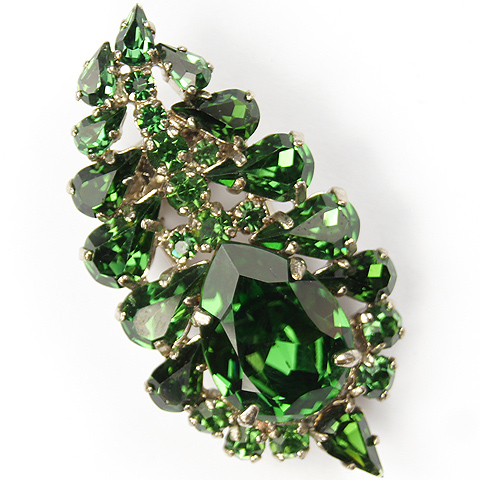 Roger Jean Pierre Marked Despose Emerald Leaf Pin Clip