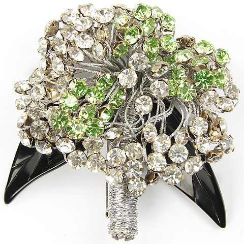Ugo Correani Made in Italy Sinuous Trembler Peridot and Diamante Flower Spray Pin with Jet Leaves