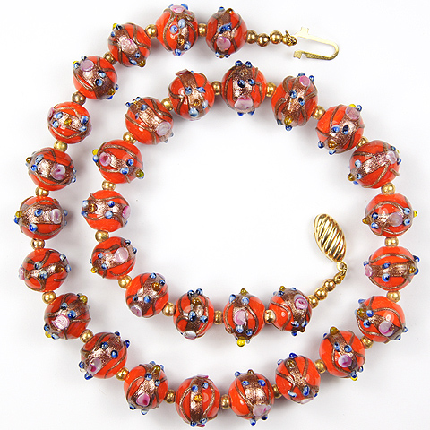 Gold and Coral Venetian Glass Beads Necklace