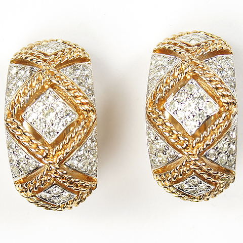 Panetta Gold Braids and Pave Diamonds Crescent Clip Earrings