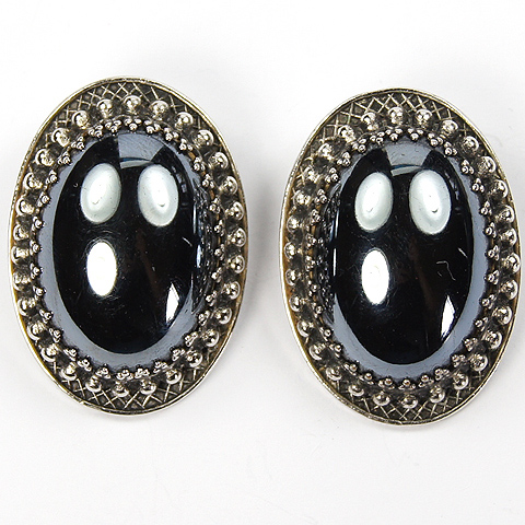 Whiting & Davis Hematite Oval Cabochon Clip Earrings