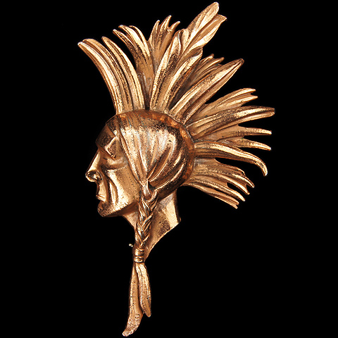 Cecil B DeMille 'North West Mounted Police' Golden Indian Chief's Head Pin