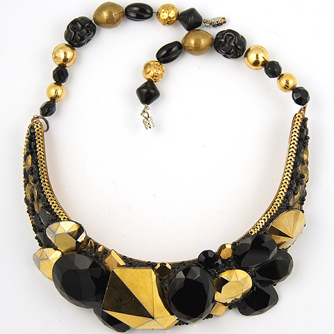 Wendy Gell Onyx and Faceted Gold Crystals Regency Necklace