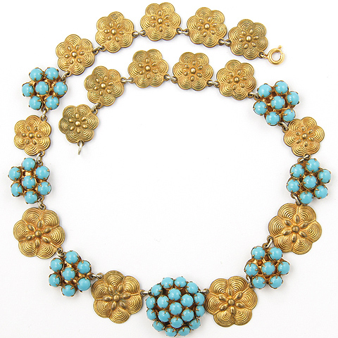 Fishel Nessler Deco Gold Floral Roundels and Turquoise Hexagon Clusters Choker Necklace