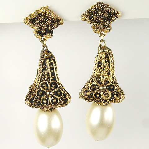 Mosell Filigree Golden Pyramid Bells with Pearl Clappers Pendant Clip Earrings