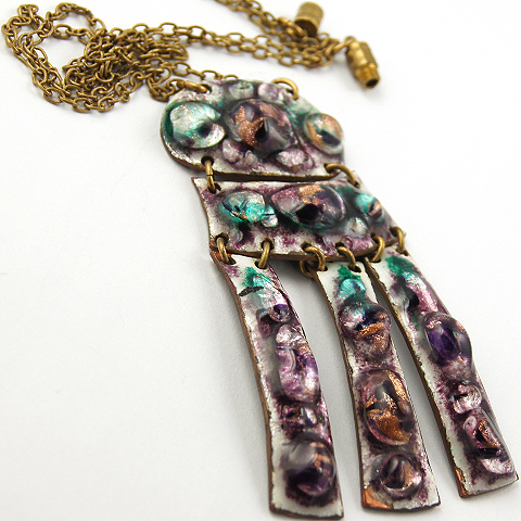 Modernist French Enamel and Poured Glass on Copper Bazot-style Hand Made Triple Pendant Necklace