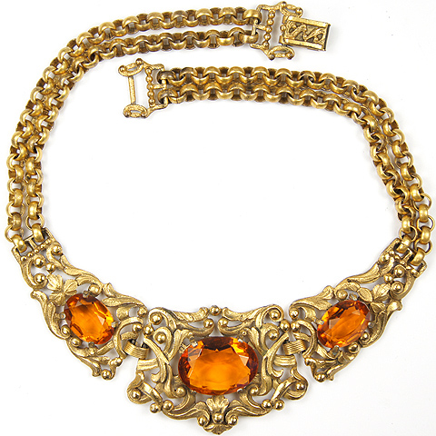 Ricarde of Hollywood (?) Gold Chains, Filigree and Topaz Choker Necklace