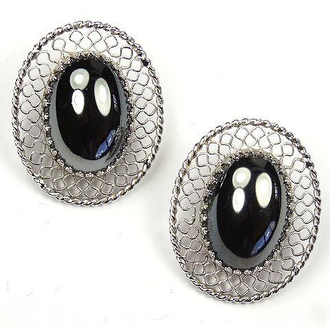 Whiting & Davis Openwork and Hematite Oval Clip Earrings
