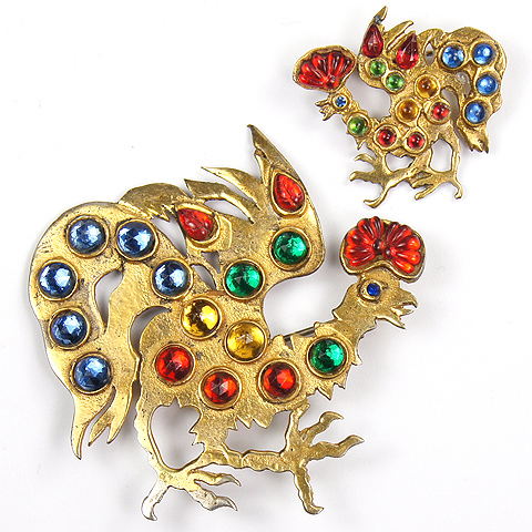 Mosell Sterling Gold Multicolour Cabochons and Fruit Salads Pair of Rooster Pins
