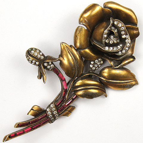 Gold Pave and Ruby Baguettes Deco Rose Flower Pin