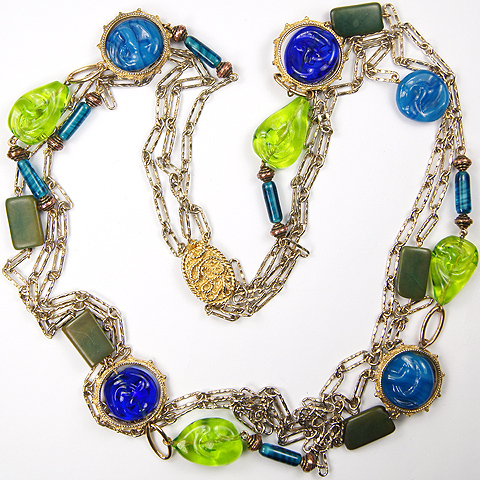 Castlecliff Gold Chains and Poured Glass Lapis Jade Turquoise and Gems Triple Stranded Necklace