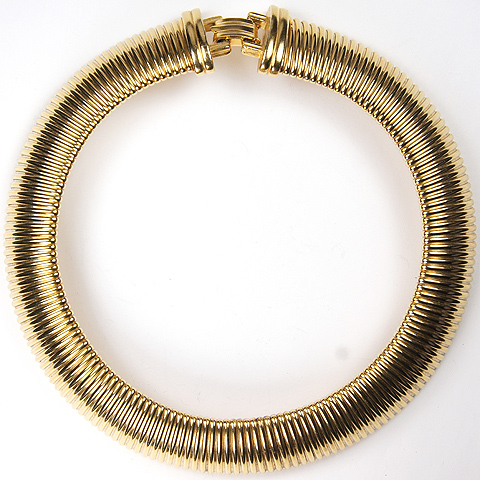 1950s Gold Sprung Articulated Choker Necklace