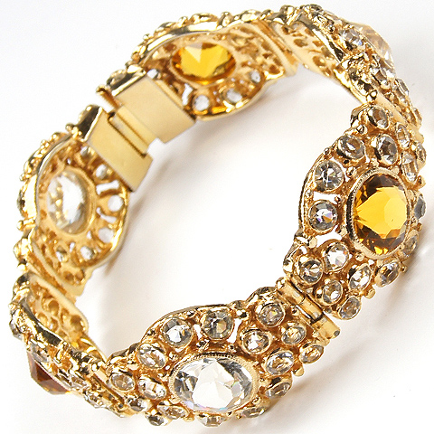 Hobe Gold Citrine and Diamante Six Link Bracelet
