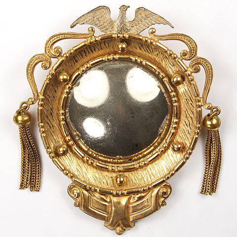 Blumenthal Gold Tassels and Imperial Eagle Convex Regency Mirror Pin
