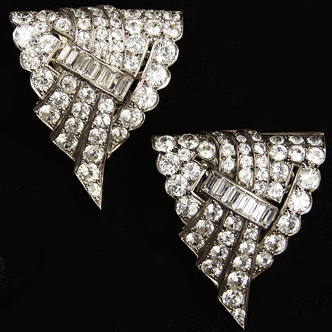 Deco French Sterling Pair of Diamante and Baguettes Triangular Dress Clips