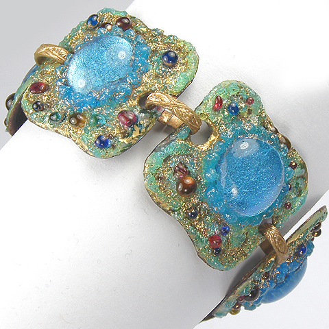 Andree Bazot France (unsigned) Copper and Fired Enamel and Poured Glass Modernist Link Bracelet