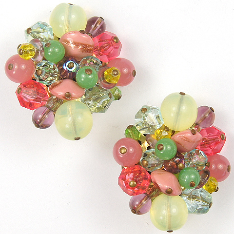 Made in Italy (unsigned) Multicolour Poured Glass Fruits Clip Earrings