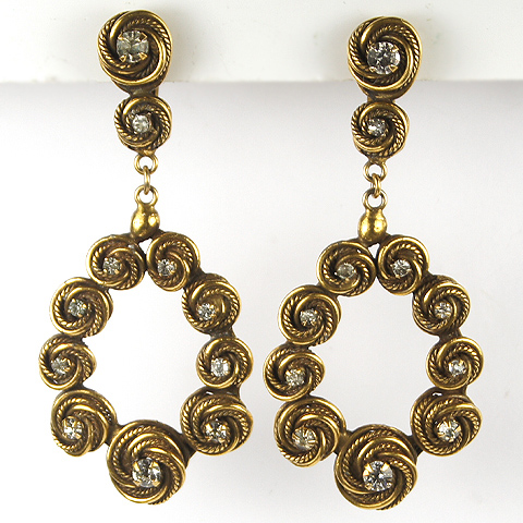 Accessocraft NY Spangled Gold Swirls Pendant Circles Clip Earrings