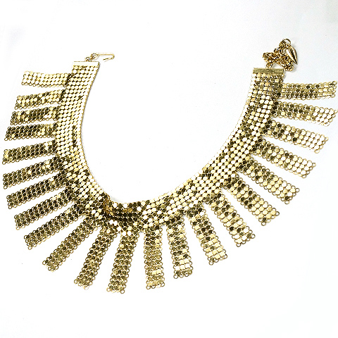 Whiting & Davis Fine Gold Mesh with Pendant Tassels Choker Necklace