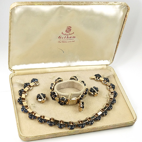 Gotham Gold and Sapphire Clusters Necklace Watch Bracelet and Clip Earrings Set