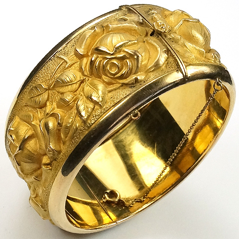 Kollmar and Jourdan Germany Rolled Gold Roses Bangle Bracelet