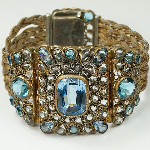 Hobe Braided Gold and Filigree Aquamarine Pale Sapphire and Blue Topaz Bracelet