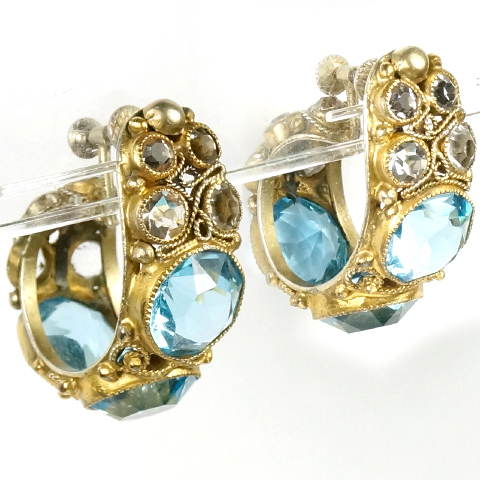 Hobe Sterling Gold Filigree and Aquamarines Crescent Shaped Screwback Earrings