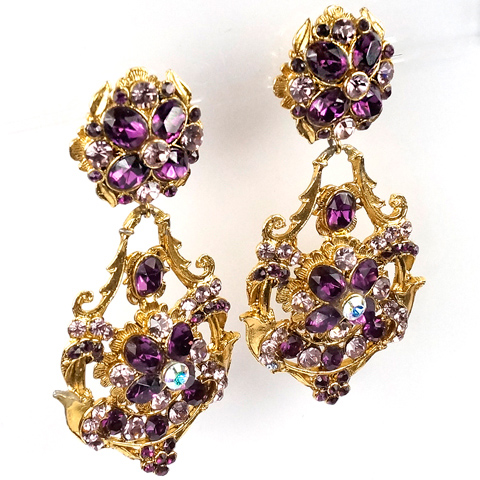 Thelma Deutsch Pale and Dark Amethyst and Aurora Borealis Gold Scrolls Pendant Clip Earrings