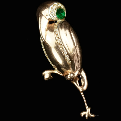Bates and Bacon 'Oscar Placco' Sterling Pave and Emerald Deco Stork Pin