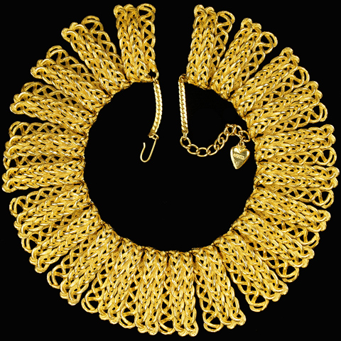Mosell Plaited Gold Braids Segmented Collar Necklace