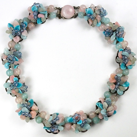 Rousselet Made in France Pastel Pink and Blue Poured Glass Flower Clusters Choker Necklace