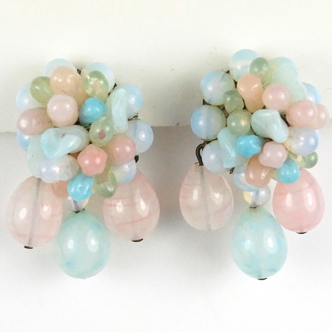 Rousselet Pastel Pink Green and Blue Poured Glass Flower Clusters Pendant Clip Earrings
