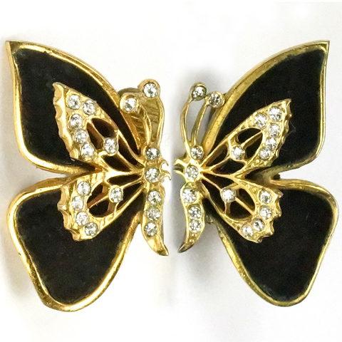 Henry a la Pensee Made In France Gold Pave and Black Velvet Butterfly Clip Earrings