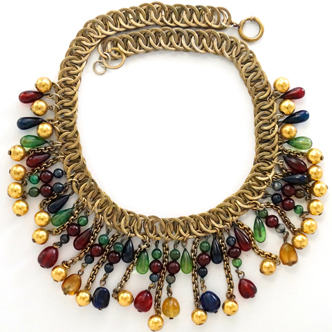 French Gripoix (?) Golden Globes and Tricolour Poured Glass Beads Necklace