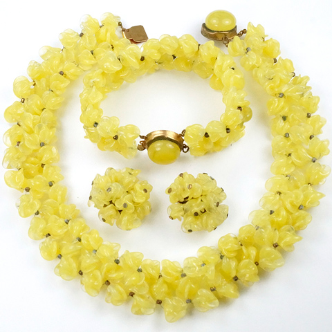 Rousselet Made in France Pastel Yellow Poured Glass Flower Clusters Choker Necklace, Bracelet and Clip Earrings Set