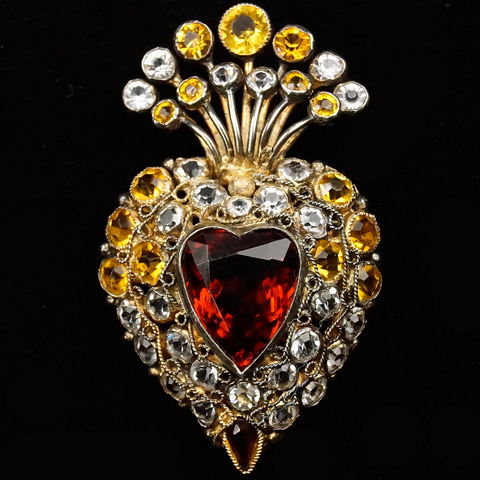 Hobe Sterling Gold Filigree Citrine and Diamante Stones and Topaz Heart Pin