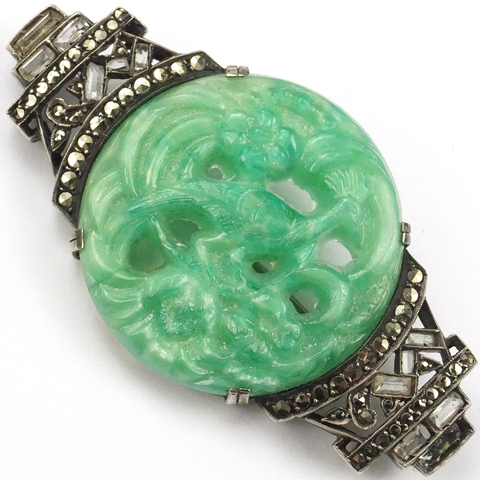 Deco Germany Sterling Marcasites and Jade Peacock Scene Bar Pin