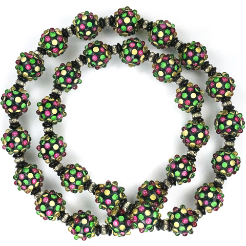 Rousselet Multicolour Cabochons on Deep Green Poured Glass Spheres Claspless Necklace