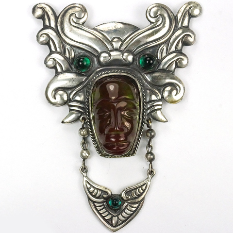 Fred Block Silver and Tinted Lucite Aztec Face Mask with Headdress and Pendant Necklace Pin Clip